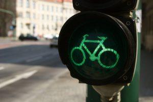 Grüne Radfahrerampel in Potsdam