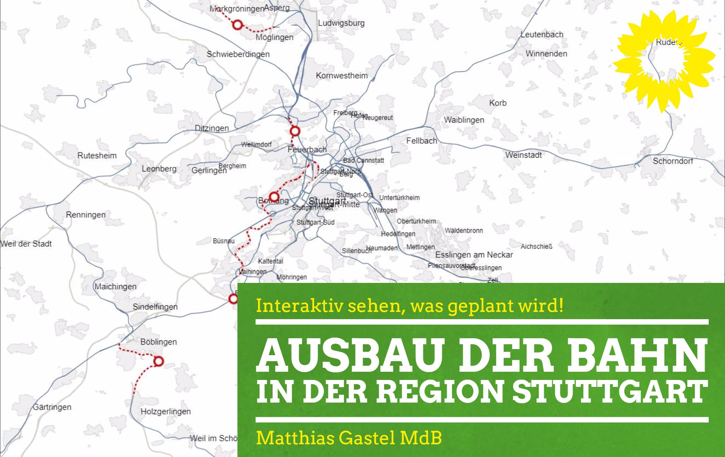 Karte der Region Stuttgart