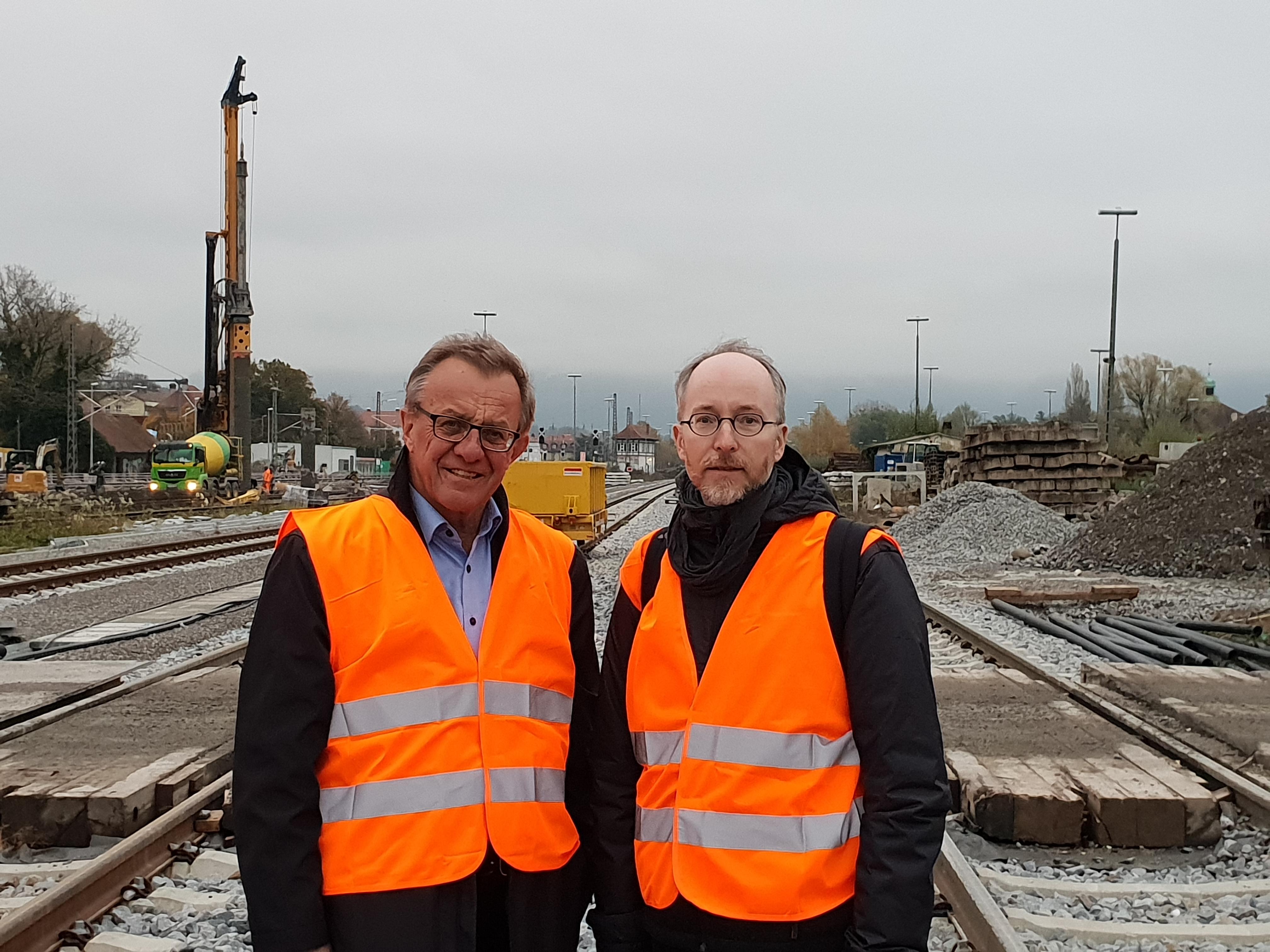 Mit Thomas Gehring MdL auf der Baustelle für den neuen Bahnhof in Lindau-Reutin